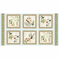 """By 24"""" Panel Elizabeth's Studio Hummingbirds in Style ~ Botanical Orchid Fabric"""