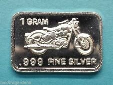 Best Junk Drawer: 1 Gram .999 Solid Silver Bullion Art-Bar  -  Motorcycle