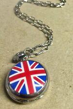 Union Jack Flag  Miniature CHROME POCKET WATCH Mod Punk England Souvenir Chain
