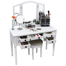 Mirrored Vanity Desk Makeup Set Dressing Table Top Stool Bedroom Furniture White