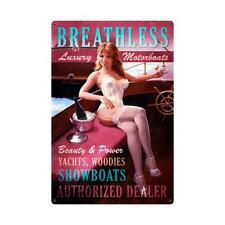Breathless Boats HILDEBRANDT METAL SIGN PINUP GIRL HAND SIGNED FREE PRINT