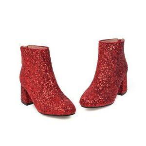 Women's Sequins Ankle Boots High Heels Fashion Round Toe Party Shoes Side Zip