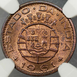 1961 INDIA 10 CENTAVOS PORTUGUESE NGC MS65 RB HIGH GRADE LIGHT TONED COLOR