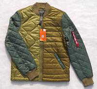 ALPHA INDUSTRIES Ally Quilted Bomber Flight Jacket Olive Drab Multi Men's Medium