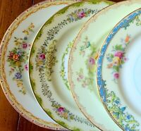 "4 Vtg Mismatched China 6.5"" Bread Dessert Plates Colorful Florals Gold - Japan"