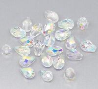 250  Farbe Oval  Facettiert Glasperlen Beads Tropfen 11x8mm