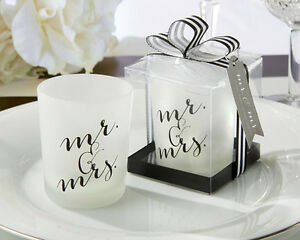 12 Classic Mr. And Mrs. Votive Candles Bridal Shower Wedding Favors
