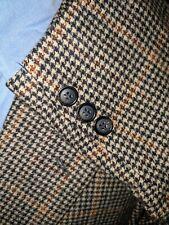 42R Orange Prince of Wales CAMEL HAIR Plaid Tweed Brown Blazer Jacket Sport Coat