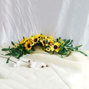 Artificial Sunflower Swag Front Door Decor Fabric Front Door Wreath Garland