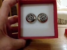 Brand new large round antique silver look clip-on earrings and  gift box