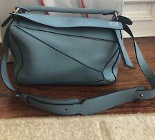 Auth LOEWE Small Puzzle Handbag Shoulder Bag Light Blue Leather/Silvertone