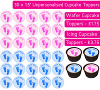 30 TEAM BLUE PINK FEET EDIBLE WAFER & ICING CUPCAKE TOPPERS BABY GENDER REVEAL