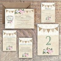 Wedding Invitations Personalised Rustic damask/bunting/pink floral packs of 10