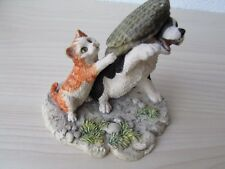 BORDER FINE ARTS RARE ANNE WALL DOG & KITTEN WITH CAP, 1985 EECO LTD. SIGNED.
