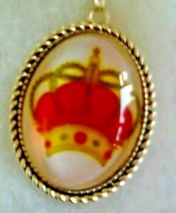 Red Crown  pendant silver plate necklace 599   for the Queen / King in your life
