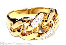 Bague anneau gourmette plaqué or 18 carats motif diamanté T 50 bijou ring