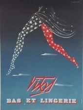 """""""BAS VITOS"""" Affiche d'intérieur originale entoilée  Litho F. LESOURT années 50"""
