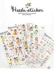 #31 cute heeda girl pencil cartoon pvc stickers notebook diary deco 6 sheets