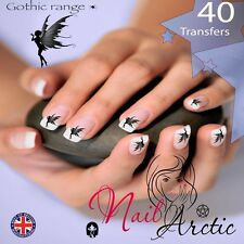 40 x Nail Art Water Transfers Stickers Wraps Decals Gothic Pixie Fairy