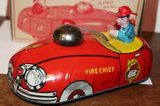 Very Nice Vintage T. Cohn #34 Metal Fire Chief Action Pull Toy Car in Box