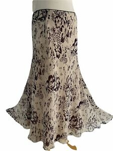 JACQUES VERT  Women's Flare Skirt Cream Floral Lined Boho Hippie Gypsy Size 14