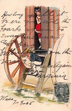 HOW LONG...WOMAN IN WAGON~MAN READS~THACKERY COMIC TUCK POSTCARD 1905 TCV PSTMK