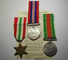 Lot of 3 WWII UK Medals 1939-1945 Italy star the Defence Medal Ribbons