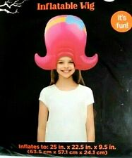Inflatable Wig Blow Up Pink Cartoon Hair 50's Flip Costume Party Cosplay Dressup