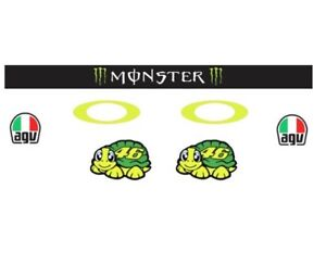 Rossi Helmet and Visor Decals/Stickers Fluro Yellow Moto GP Sticker Set