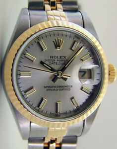 ROLEX Ladies 18kt Gold & Stainless DateJust Silver Index 79173 SANT BLANC