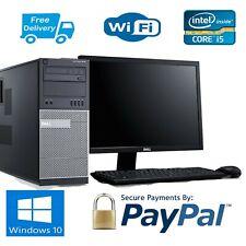 """DELL 7010 MT PC COMPUTER TOWER  i5_ 16GB RAM-256 SSD+500 Sata WIN10 19"""" Dell LCD"""