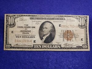 1929 $10 Dollar National Currency The Federal Reserve of Richmond, VA - GOOD
