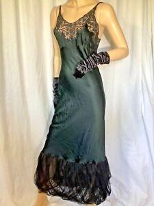 Vintage silk Negligee tulle 30s satin Sleeveless lace Bias maxi Slip dress Small