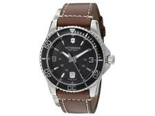 New Victorinox Swiss Army Maverick Brown Leather Strap 43mm Men's Watch 249107