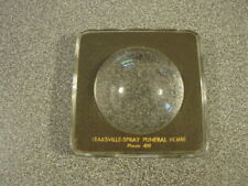 Glass Advertising Paperweight Magnifier Leaksville-Spray Funeral Home Eden Nc