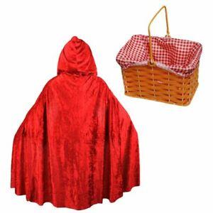 CHILDS RED RIDING HOOD COSTUME HOODED CAPE BASKET SCHOOL BOOK WEEK FANCY DRESS
