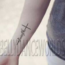 SET OF 2 CHRISTIAN CROSS STRENGTH SPIRITUAL TEMPORARY TATTOO QUOTE BODY STICKER