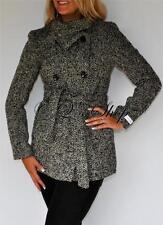 New Calvin Klein Wool Blend Coat Herringbone Trench Coat Black Gray 2