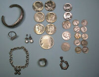 7.5+ OUNCE Mixed Lot .925/Sterling Jewelry - .999 Bullion & Silver US coins