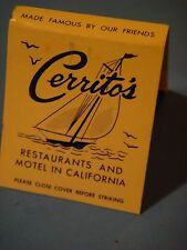 Matches Matchbook ~ CERRITO'S Restaurants, Motels ~ Monterey & Visalia ** CLOSED