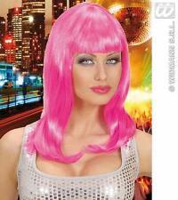 Ladies Lon Neon Pink Wig Katy Perry Nu Rave Disco Cyber Fancy Dress