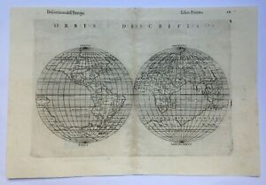 WORLD MAP 1598 RUSCELLI -PTOLEMY 16e CENTURY UNUSUAL ANTIQUE COPPER ENGRAVED MAP