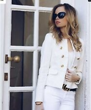 Zara Off White / Ecru Velvet Military Style Blazer Jacket M UK 12 Bnwt