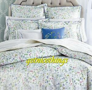 Yves Delorme Beaucoup Pastel Floral White Queen Fitted Sheet 100% Cotton NEW