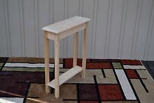 """Unfinished 24"""" Narrow Console Sofa Foyer, Beveled Edge Pine Table w/Shelf"""