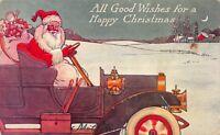 Christmas Postcard Santa Claus Driving an Automobile Delivering Toys~116172