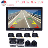 """7"""" Monitor for RV Truck + 4 Rear View Back up & Side Camera Night Vision System"""