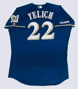 CHRISTIAN YELICH Autographed '2018 Stat' Authentic Blue Brewers Jersey STEINER