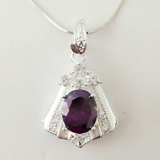 New 925 Sterling Silver Amethyst Trapezium Floral Charm Pendant Necklace PD1240