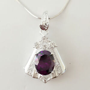 New 925 Sterling Silver Amethyst Trapezium Floral Charm Pendant Necklace PD1240A
